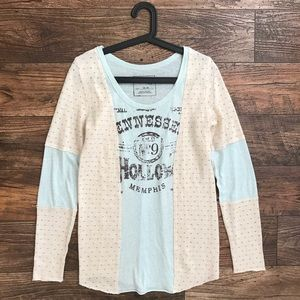 Free People Tennessee Hollow Knit Graphic Tee Blue